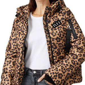 NWT NVLT  ADD TO HEARTS Leopard Cire Puffer Jacket